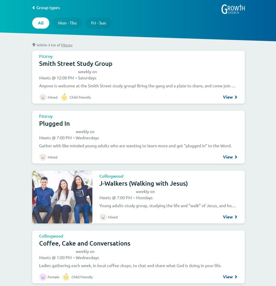 Screenshot of the Kast group finder application