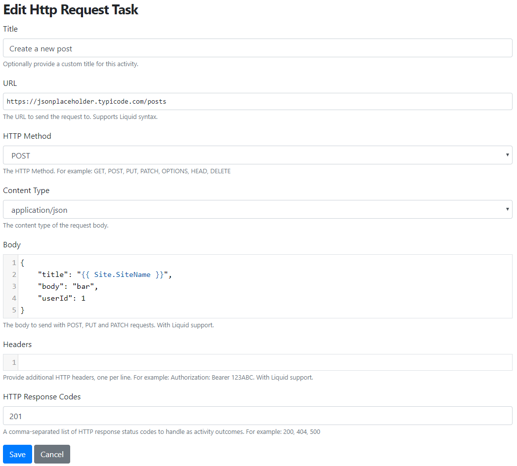 The editor of the HTTP Request Task to make a GET request