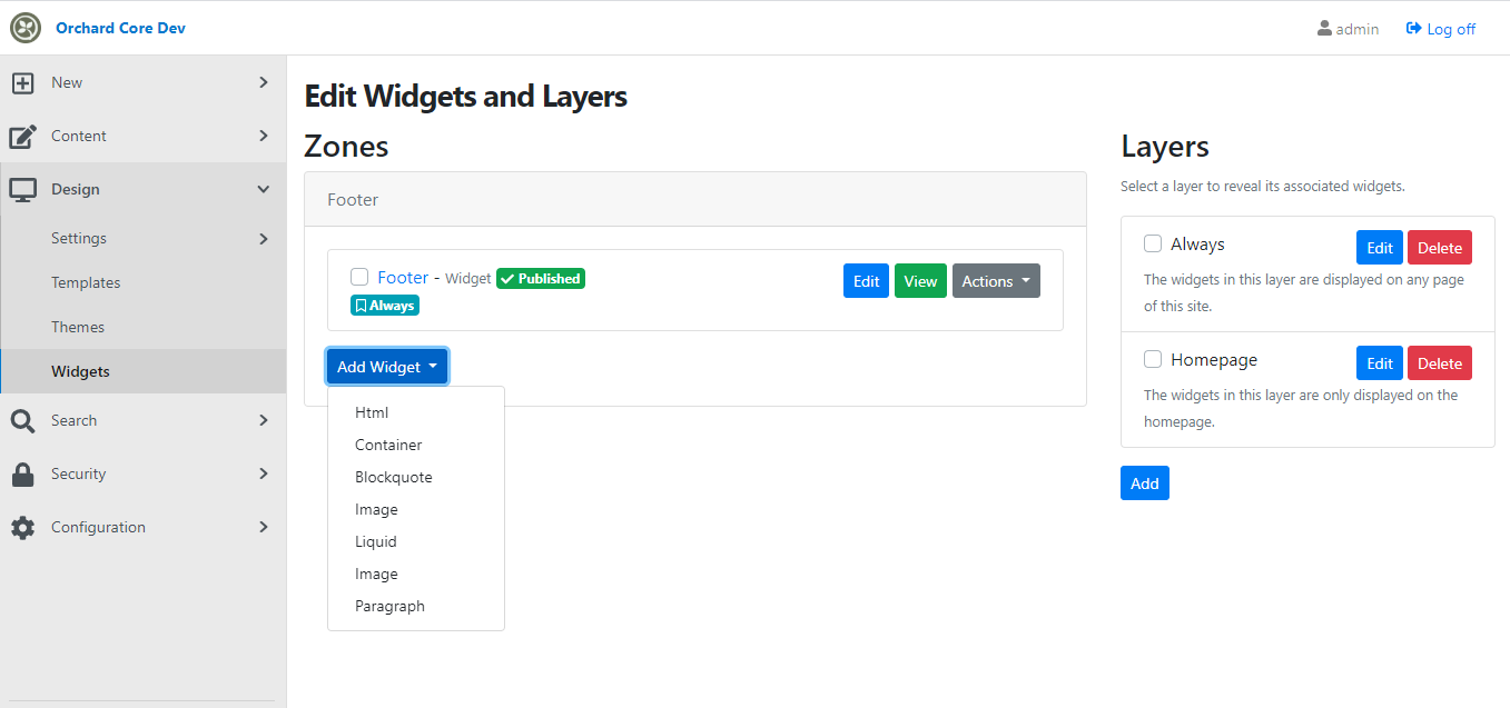 The Widgets and Layers admin page of Orchard Core, displaying zones and layers