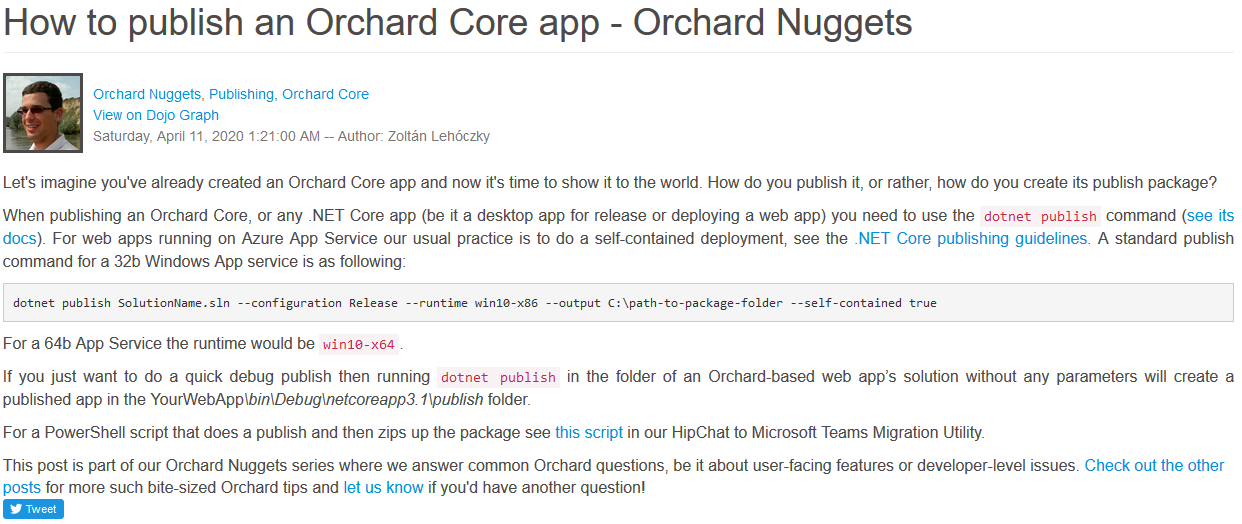How to publish an Orchard Core app