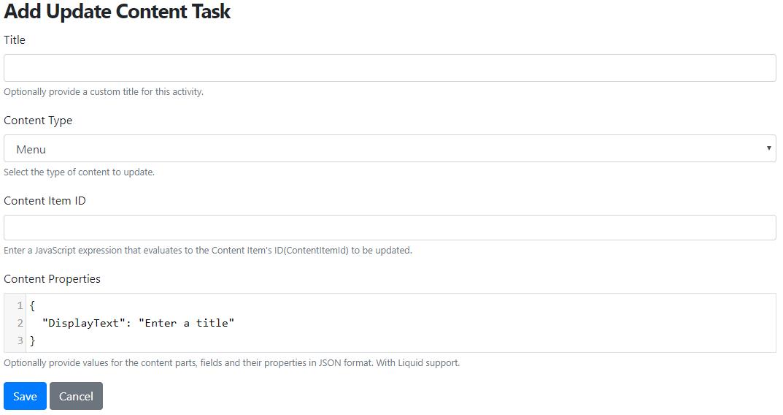 Add Update Content Task