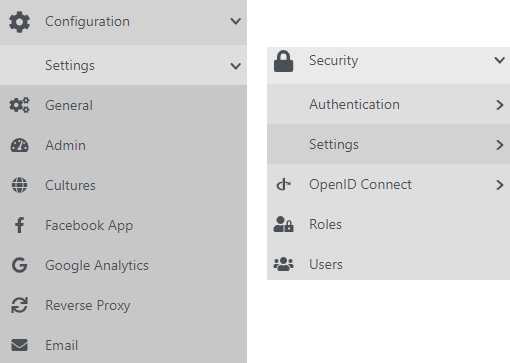 New icons for the Configurations and the Users menu items