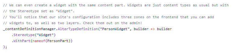 Migration of the Person Widget