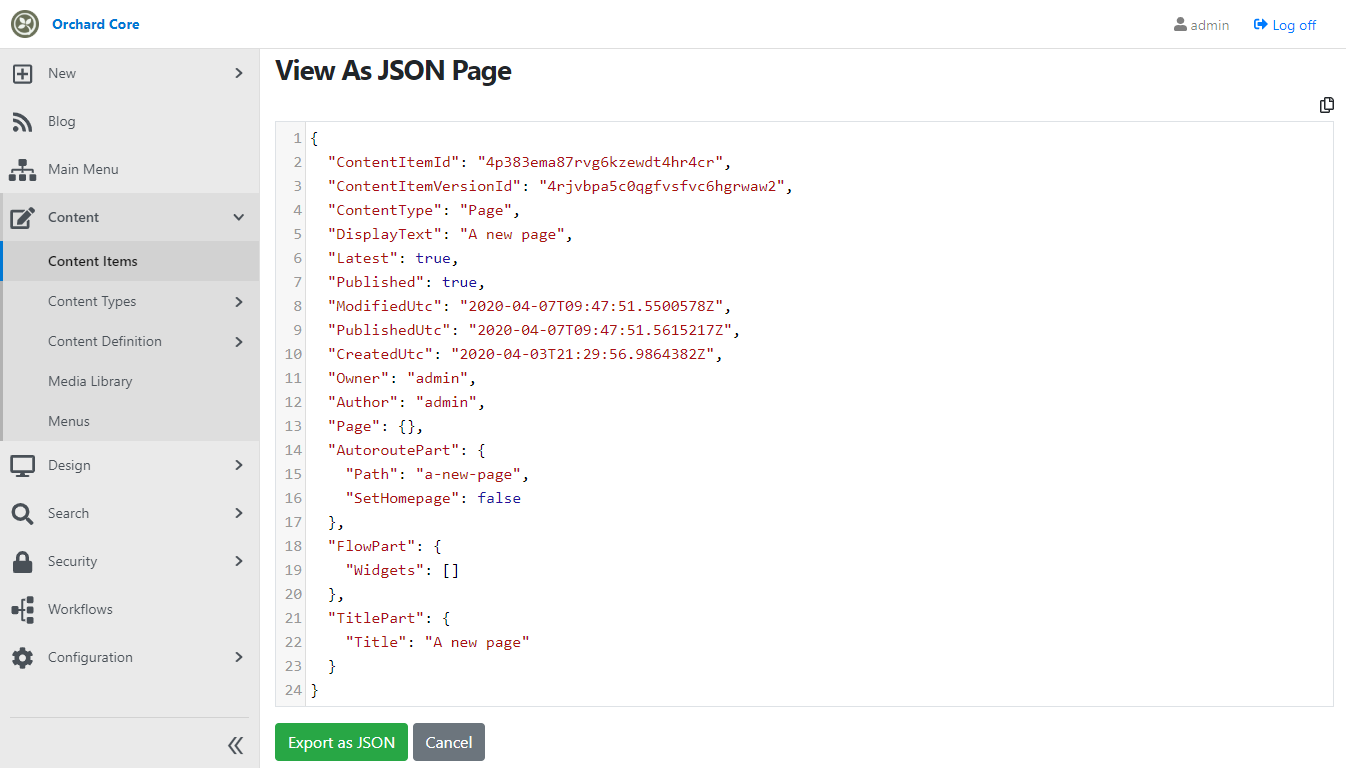 View as JSON page