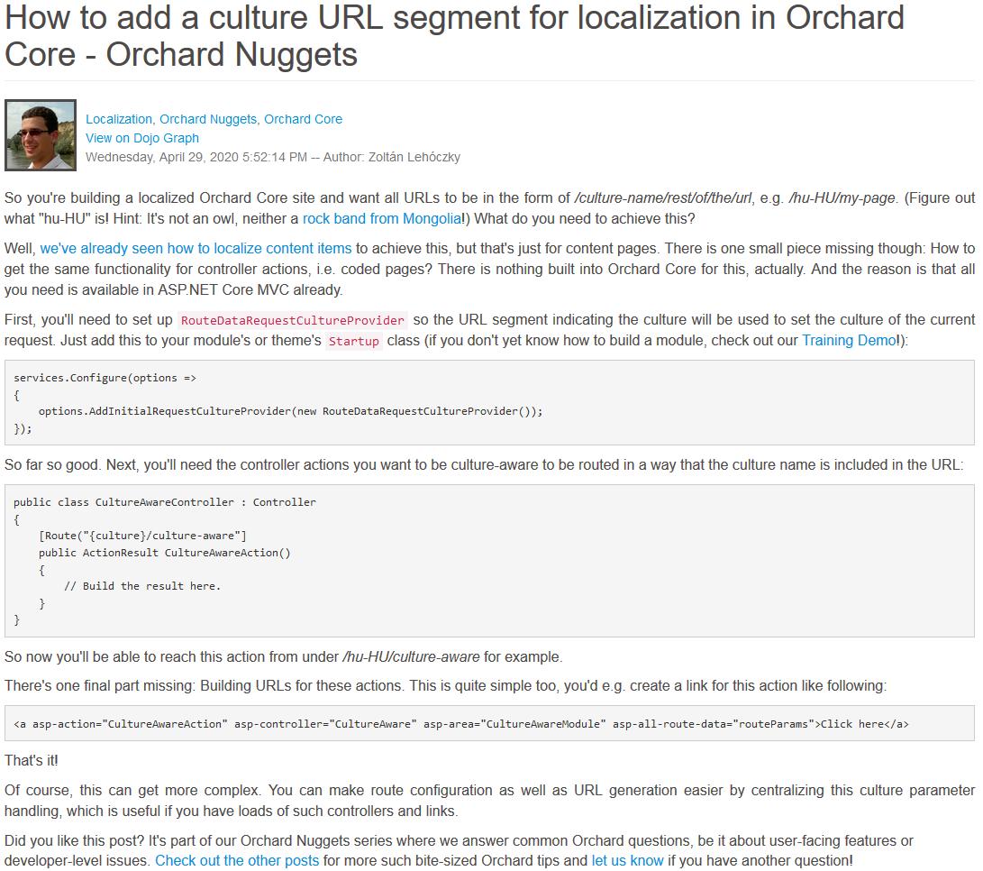 Orchard Nuggets URL segment localization