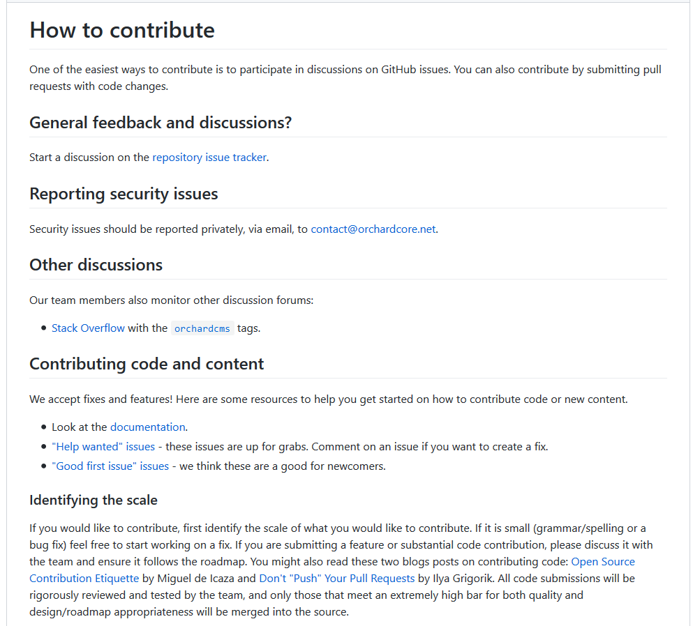 Documentation about how to contribute