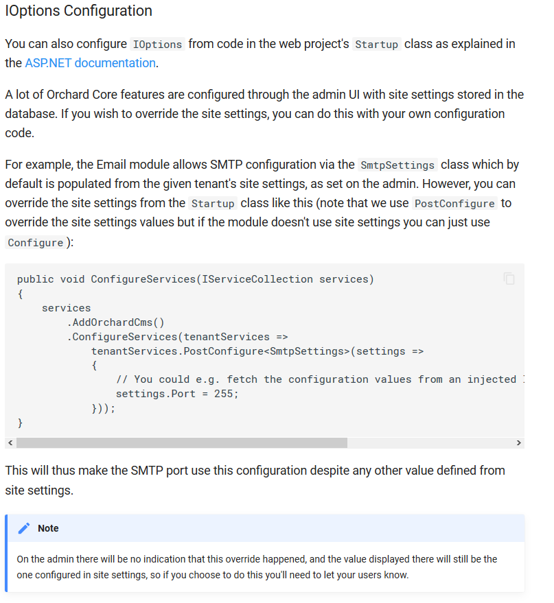Documentation about how to configure IOptions from code