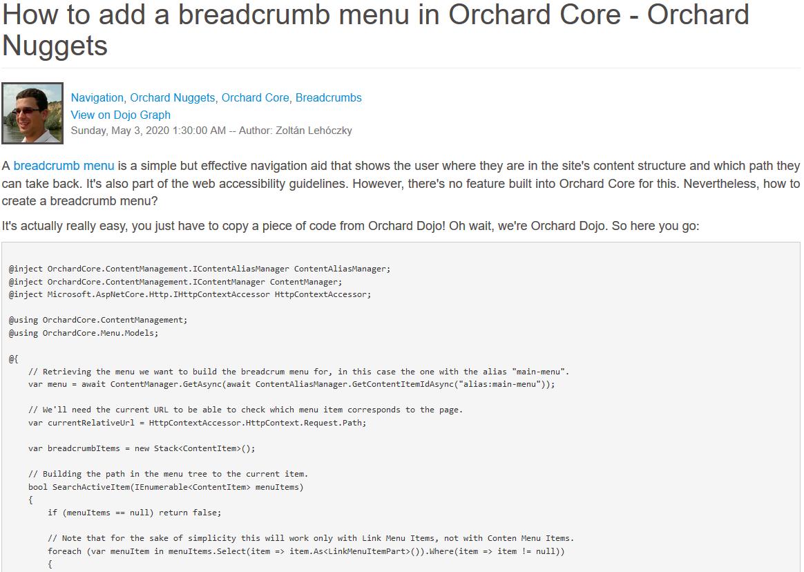 Orchard Nuggets Breadcrumb menu