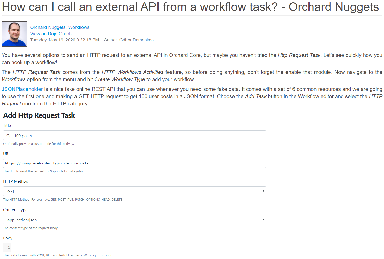 Orchard Nuggets post about calling external API from workflows