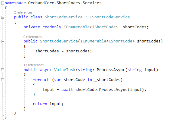 The implementation of the ShortCodeService