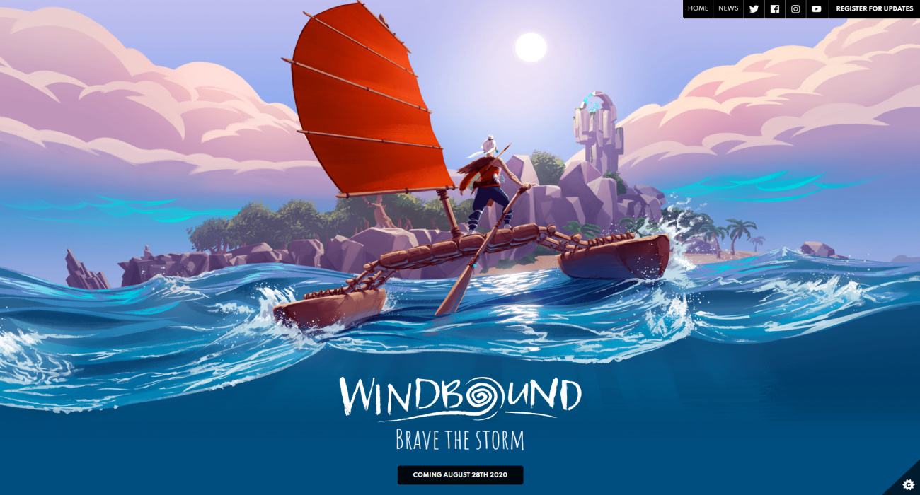 The homepage of the Windbound game