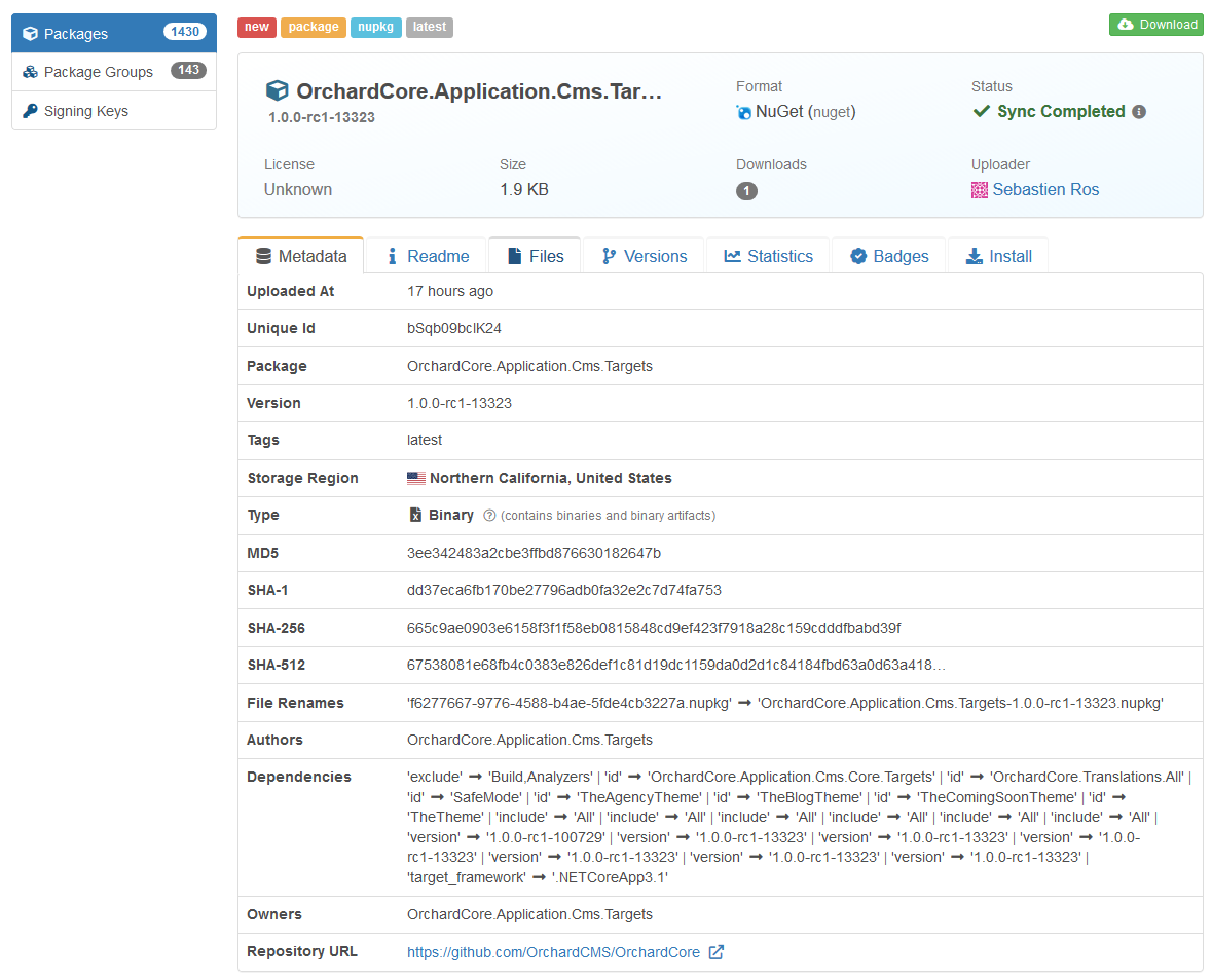 The OrchardCore.Application.Cms.Targets package in Cloudsmith