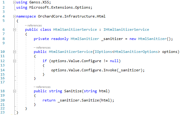 The implementation of the IHtmlSanitizerService interface