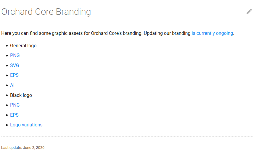 The Orchard Core Branding page in the Orchard Core Documentation