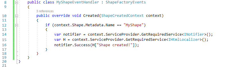 Accessing the ServiceProvider from the ShapeCreatedContext