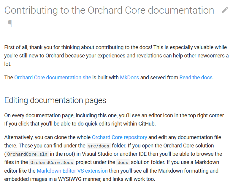 Documentation about how to contribute to the documentation of Orchard Core