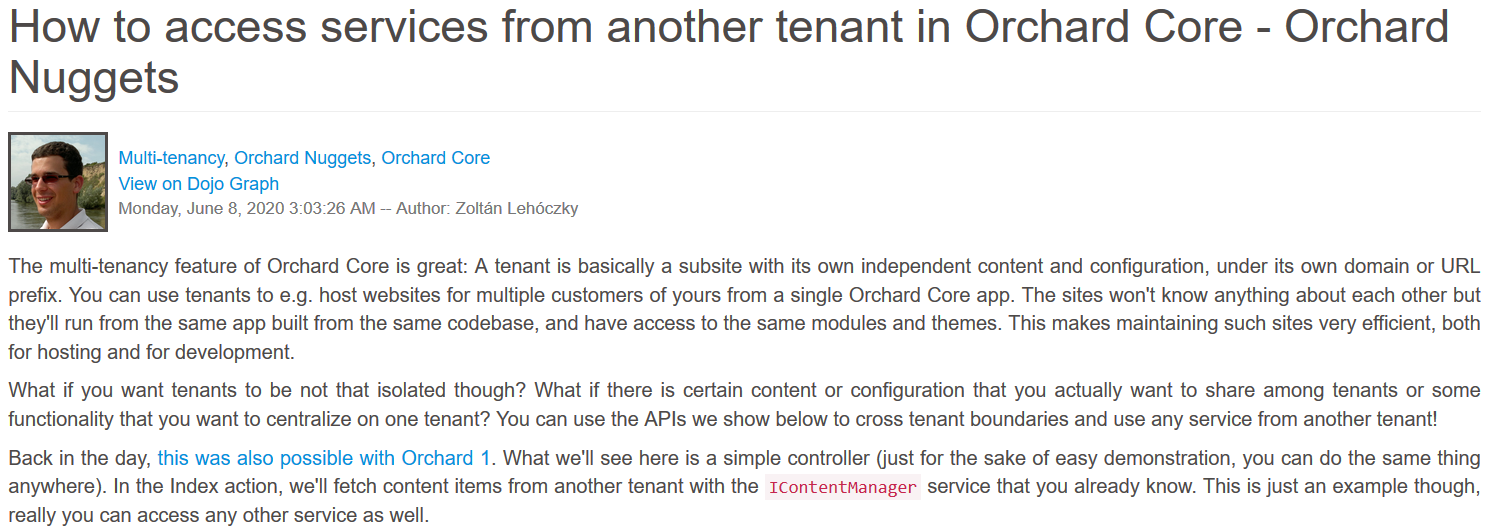 How to access services from another tenant in Orchard Core - Orchard Nuggets