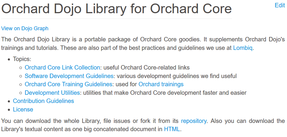 Orchard Dojo Library for Orchard Core