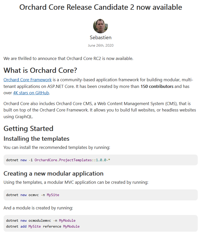 Orchard Core RC 2 post on the ASP.NET Blog