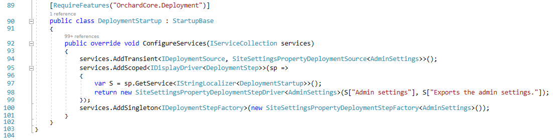 The DeploymentStartup class in the Admin module