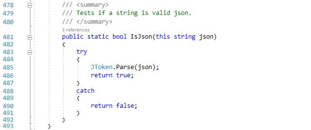 The IsJson extension method