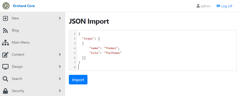 JSON Import feature