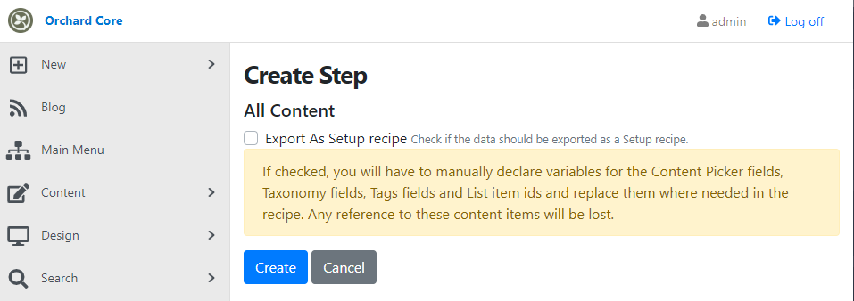 The Export As Setup recipe checkbox in the All Content deployment step