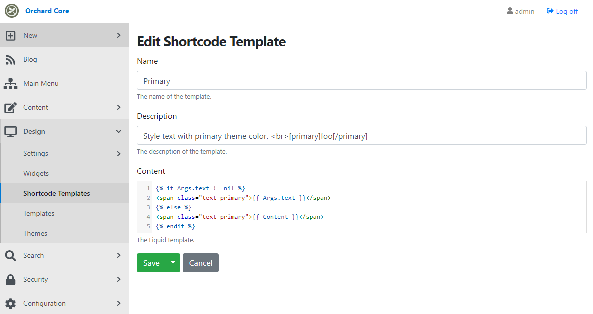 Creating a new Shortcode Template from the admin UI