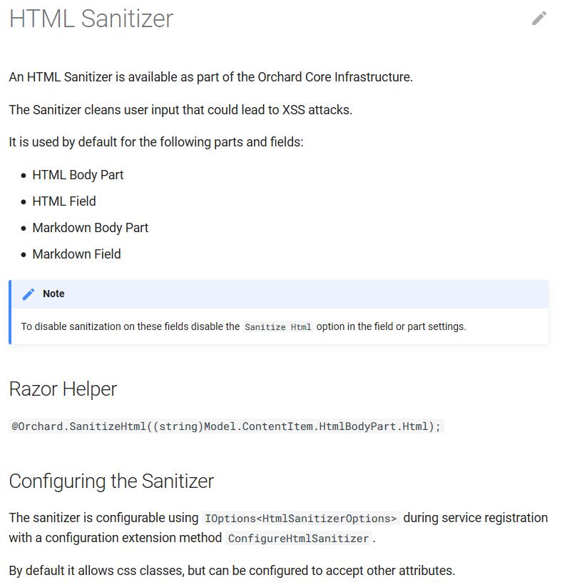 HTML Sanitizer documentation