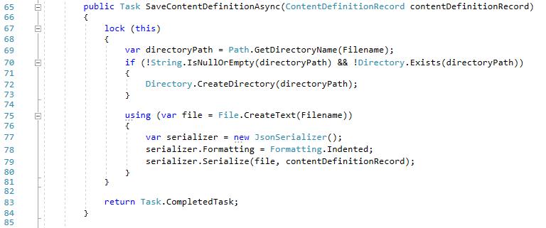 The SaveContentDefinitionAsync method