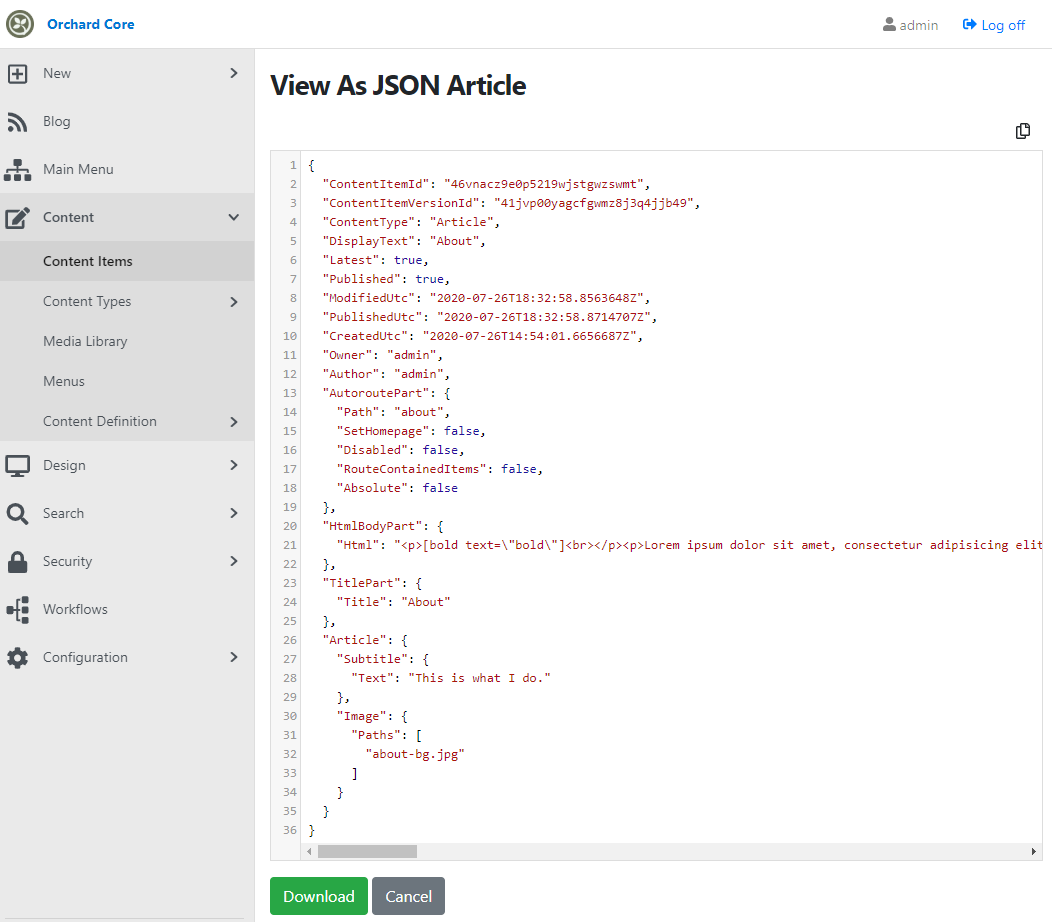 View content item as JSON