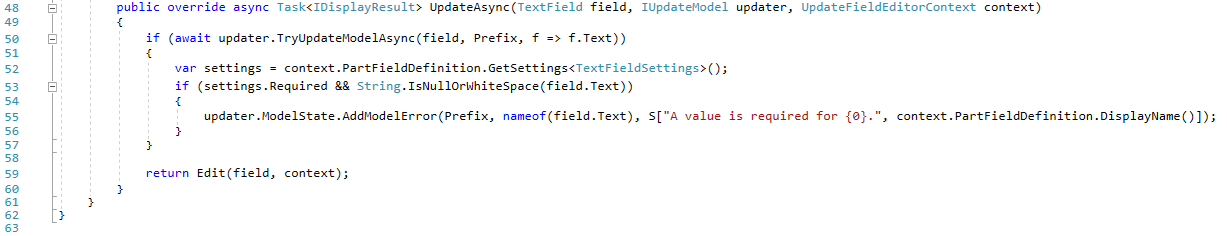 The UpdateAsync method of the TextFieldDisplayDriver