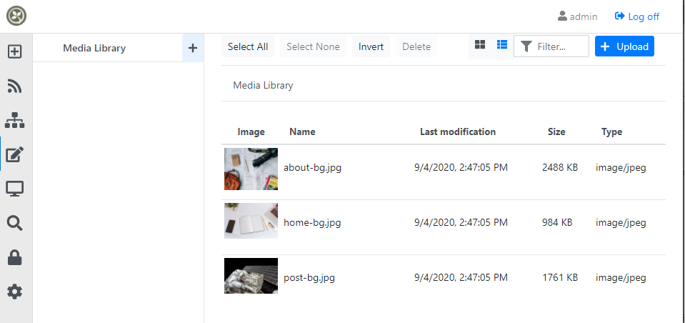 Files in the root of the media library