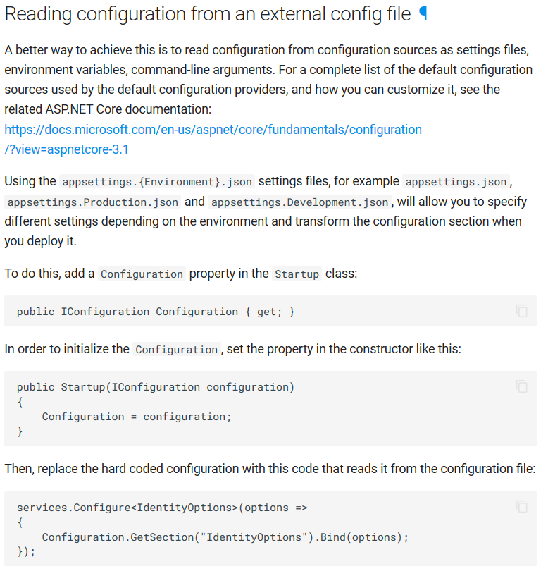 Documentation about how to read configuration from an external config file