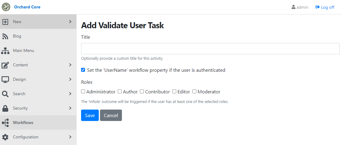 The editor of the Validate User Task