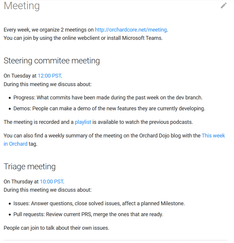New Meeting page in the Orchard Core Documentation