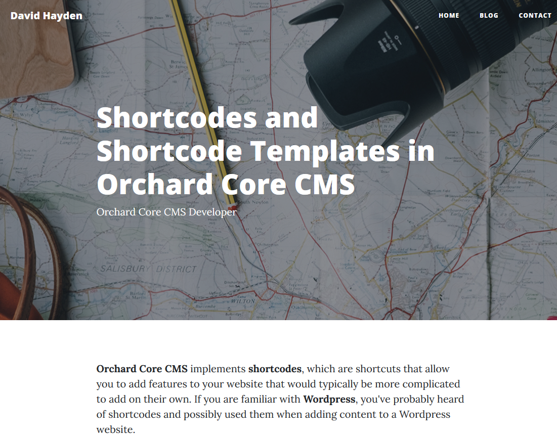 David Hayden: Shortcodes and Shortcode Templates in Orchard Core CMS