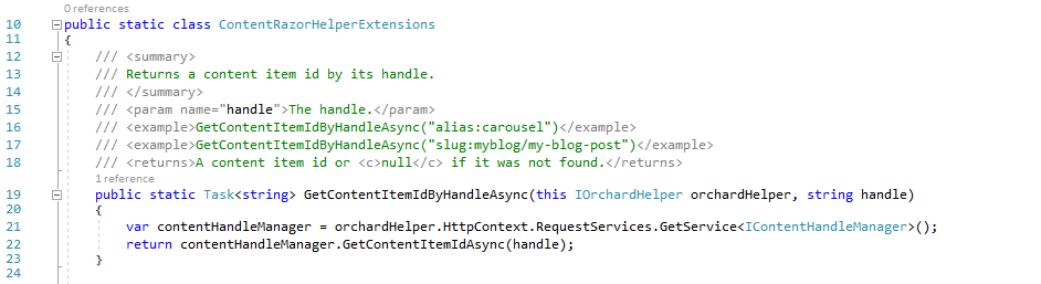 The GetContentItemIdByHandleAsync extension method
