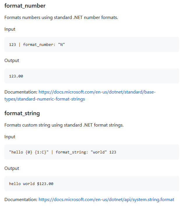 The new format_number and format_string custom filters in Fluid