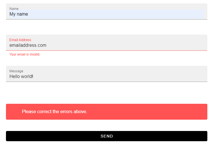 The VueForm with a validation error