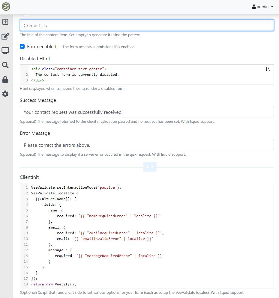 Creating a new VueForm content item