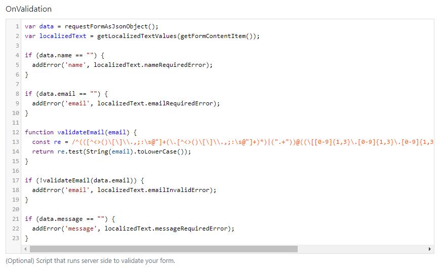 The OnValidation script of the VueForm