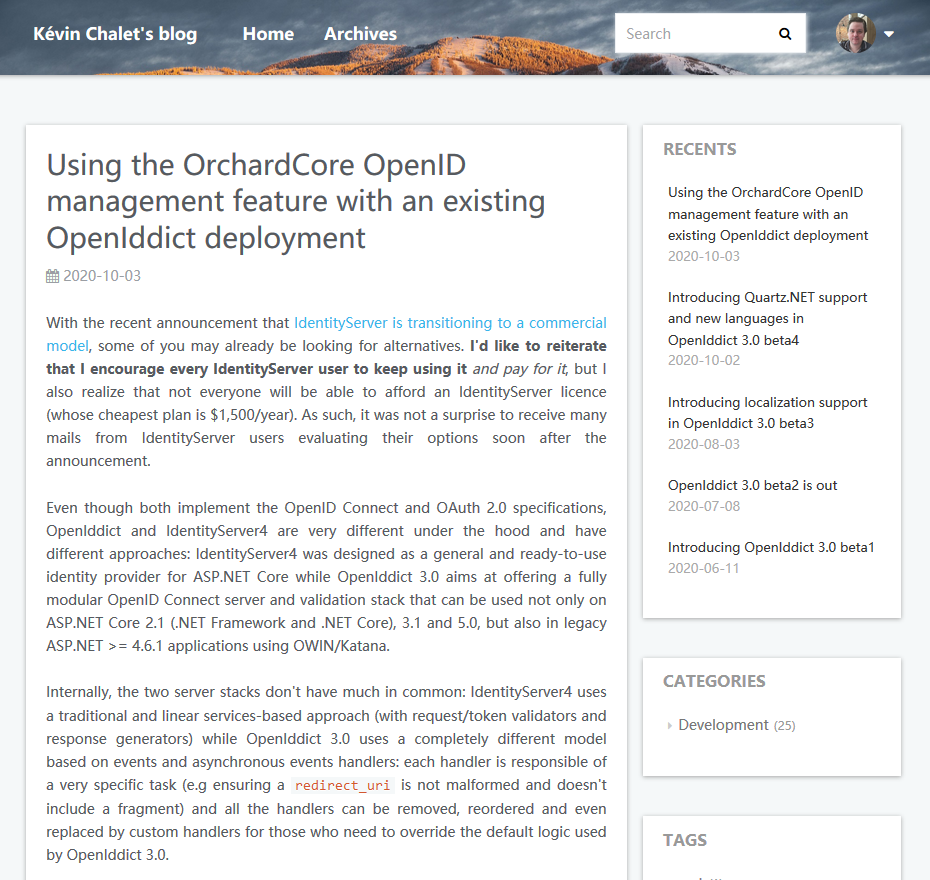 Using the OrchardCore OpenID management feature with an existing OpenIddict deployment