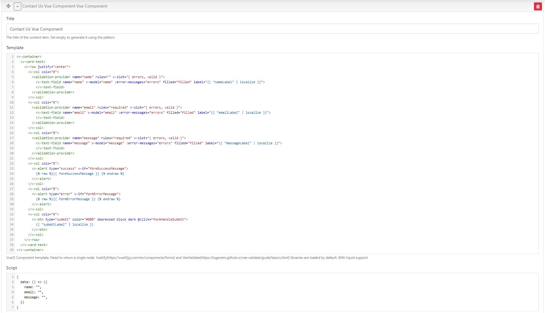 VueJS Component template