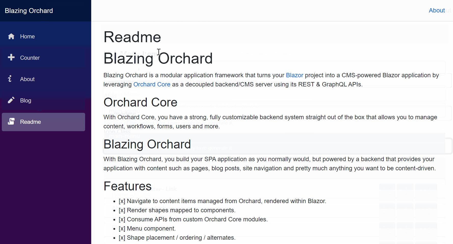 The main menu in the Blazor application
