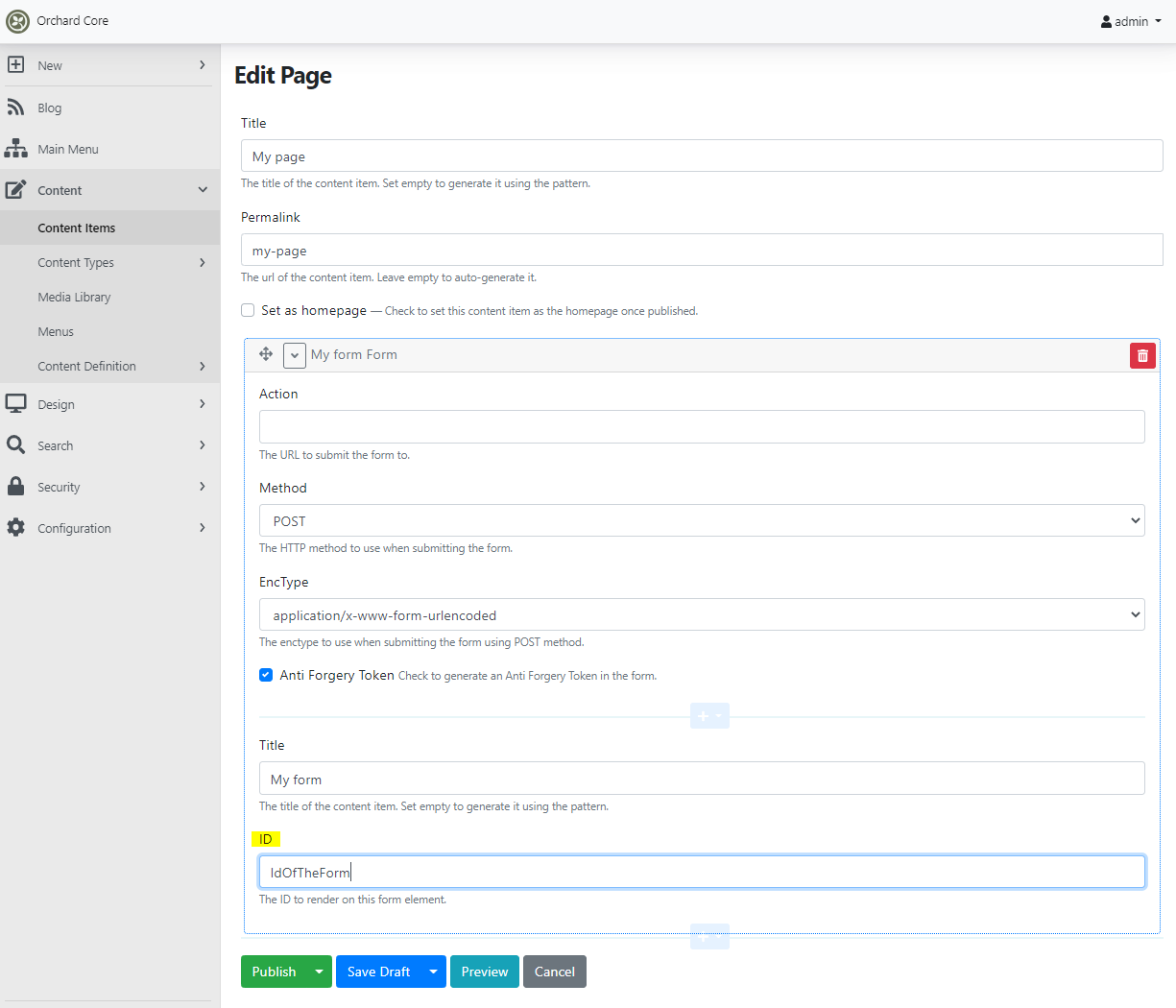 Setting the ID of the Form widget