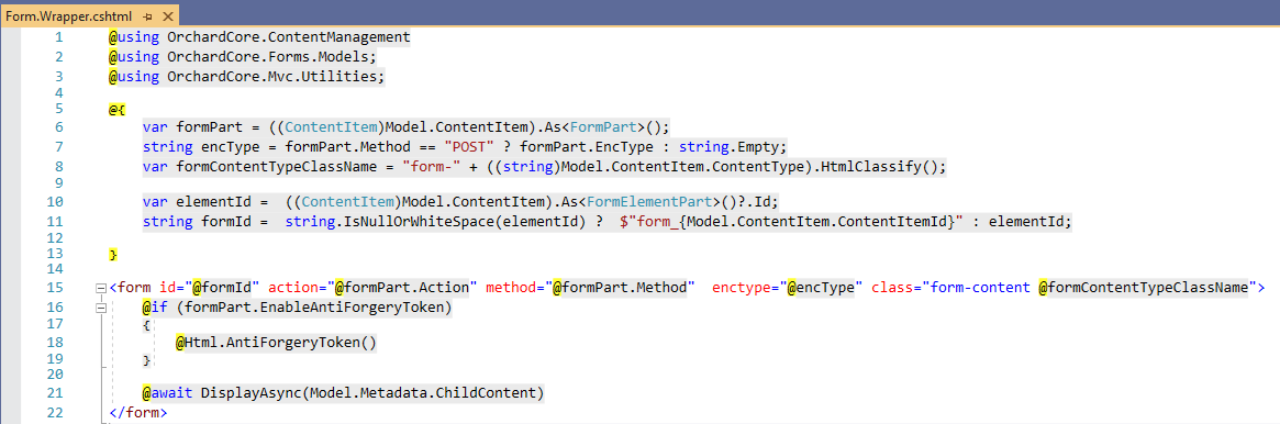 The Form.Wrapper.cshtml file