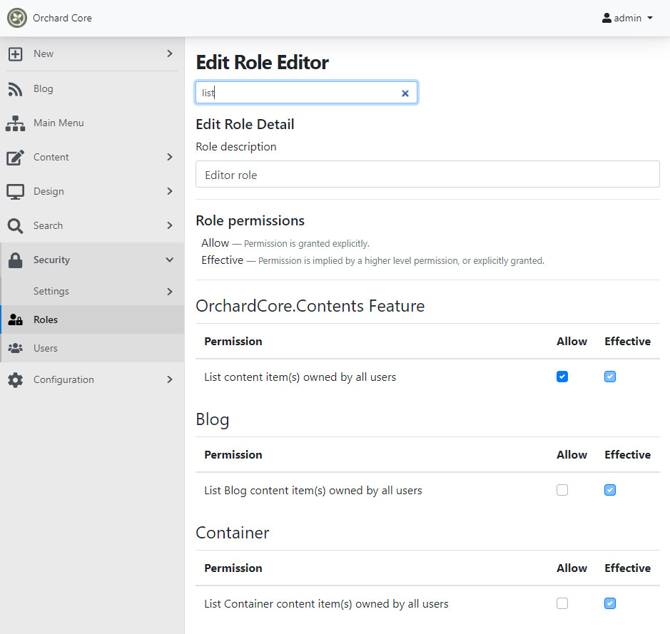 The new dynamic list content permission