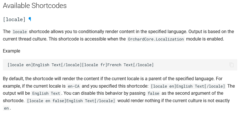 The locale Shortcode in the documentation