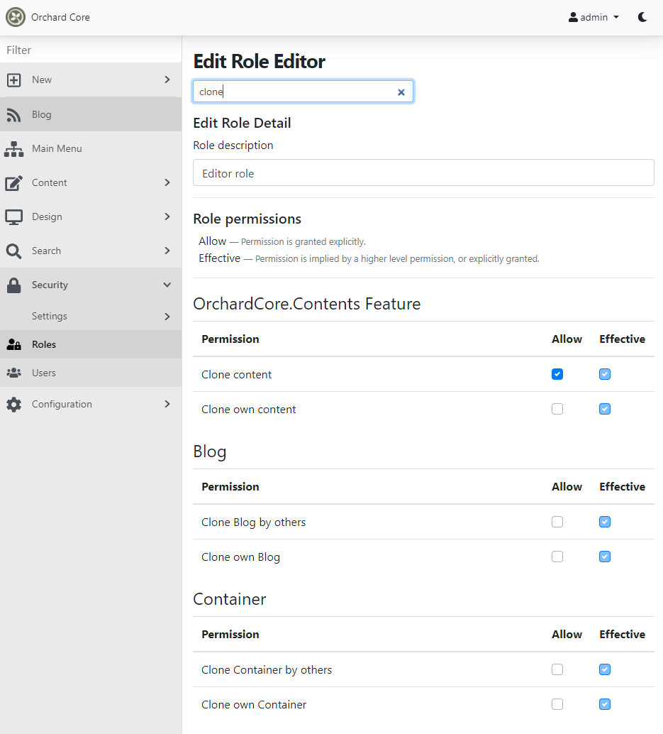 Clone content dynamic permission